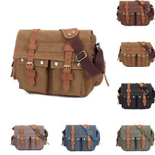 Men's Vintage Canvas Leather Shoulder Bag Messenger School Laptop Briefcase Bag