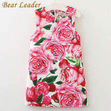 Summer Sleeveless Rose Floral Pattern Design for Kids Dress Girls Clothes