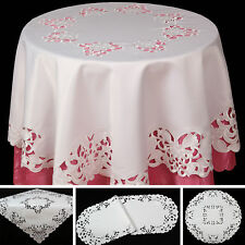 White Flowers Open Embroidery Table runner Tablecloth Doily White