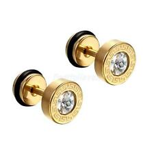 Cool Punk 8MM Men Stainless Steel Faux Illusion Crystal Vintage Stud Earrings