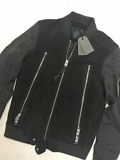 "ALL SAINTS GRANITE GREY ""JAIR"" LEATHER BOMBER JACKET COAT - SMALL - NEW TAGS"
