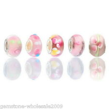 Wholesale Lots Pink Lampwork Glass European Charm Beads Fit Charm Bracelets GW