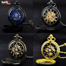 Mechanical Hand Wind Skeleton Pocket Watch Antique Steampunk Fob Chain Gift New