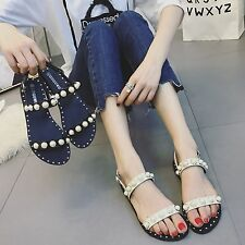 Womens Pearl Studded Ankle Strap Flat Sandals Shoes