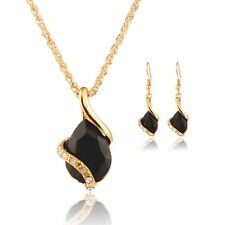 Chain Women Necklace + Earrings Crystal Water Drop Jewelry Set Gold Plated