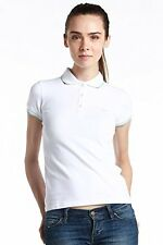 Authentic NWT Fred Perry ITALY MADE Women White Classic Polo Shirt Twin Tipped