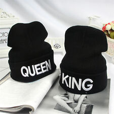KING QUEEN Embroidery Beanie Bed Head Knit Unisex Fashion Hat Couple Gifts JM3