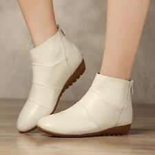 Genuine leather ankle shoes women boots fashion sweet low heels zipper boots