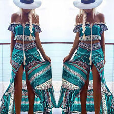 Women 2 Pieces Summer Boho Long Maxi Evening Party Cocktail Dress Beach Sundress