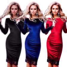 Women Fashion Lace Sheath Party Dresses Velvet Slim Sexy Long Sleeve Hot