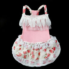 Clothing For Dogs Pet Puppy Dog Clothes Rose Lace Wedding Party Dog Dress XS-XL