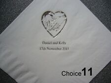 50 Personalised Wedding Napkins 9 NEW designs, 12 napkin Colours