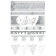 25th Silver Anniversary 25 Years Banners Bunting Balloons Party Decorations