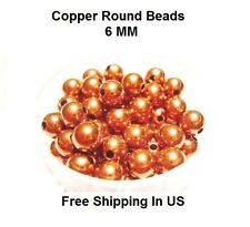 6 MM Copper Round Hollow Beads Hole 2.2 MM (Genuine Solid Copper)