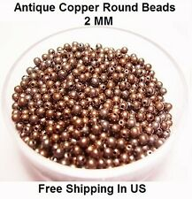 2 MM Antique Copper Round Hollow Beads Hole 0.80 MM (Genuine Solid Copper)