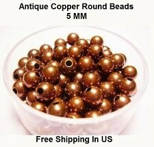 5 MM Antique Copper Round Hollow Beads Hole 1.8 MM (Genuine Solid Copper)