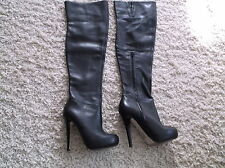 LADIES TOP SHOP SEXY, FETISH,THIGH HIGH, REAL LEATHER BOOTS SIZE 5 BLK SEE PIC