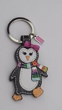 Coach multi leather enamel legacy penguin key fob chain mothers gift RARE NEW
