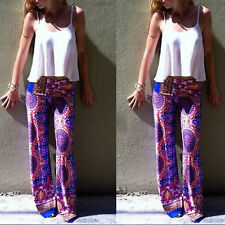 Women's Casual Stretch Pants Wide Leg Long Bohemian Loose Palazzo Trousers New