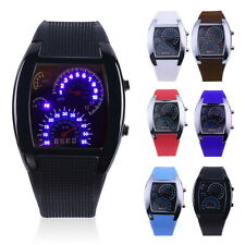 Mens Sports RPM Turbo Blue Flash LED Sports Car Meter Dial Watch Wristwatch #5