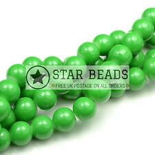 GLASS MOTTLED MARBLE EFFECT ROUND BEADS DRAWBENCH 4MM,6MM,8MM,10MM - PLAIN GREEN