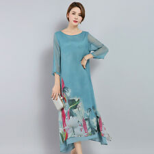 Ladies Silk Layered Baggy Long Dress Chinese Style Retro Floral Gown Casual Blue