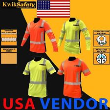 Hi Vis T Shirt ANSI Class 3 Reflective Safety Long Sleeve HIGH VISIBILITY
