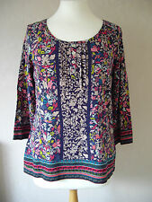 New M&S - size 12 - lovely COTTON NAVY floral print LADIES TOP/Tunic BNWoT