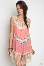 New Umgee Womens Tunic Dress Pink Crochet Fringe Boho Style Hippy S M L