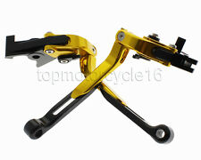 FXCNC Gold Foldable Extending Brake Clutch Levers For Suzuki GSXR-600 1992-1993