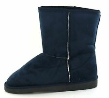 SALE Ladies Navy Microfibre Warm Lined Pull On Winter Boots. Spot On X4002