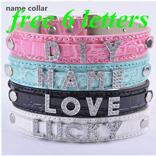 Personalized PU Leather Dog Puppy Collars Customized Dog Collars Free Name&Charm