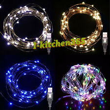 10M 100 LED USB Powered Silver Wire String Fairy Lights Xmas Home Party Decor