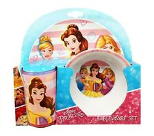 Disney Princess Belle Rapunzel 3pc Melamine Tumbler, Bowl & Plate Mealtime Set