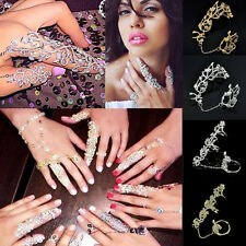 women fashion Punk Rock Gothic Gold Silver Double Full Finger Knuckle Armor Ring