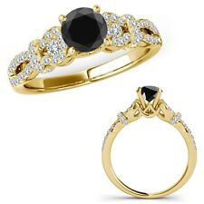 0.75 Ct Black Diamond Infinity Crossover Three Stone Ring Band 14K Yellow Gold