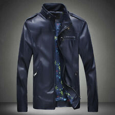 New Stylish Mens PU Leather Outwear Biker Slim Fit Motorcycle Jacket Blazer Coat