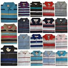 New Mens Striped Polo Shirt Short Sleeve Collared Summer T-Shirt Top Size S-2XL