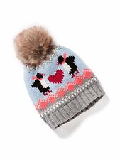 New OLD NAVY Girl's Hat Size 12-24 months PENGUIN Knit Faux Fur Pom Pom Beanie