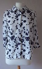 NEW M&S - size 10 - 16  lovely Ivory/ Navy abstract print ladies BLOUSE - BNWoT