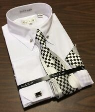 Men's Karl Knox French Cuff White Dress Shirt Tie Hanky Set Collar Bar NEW