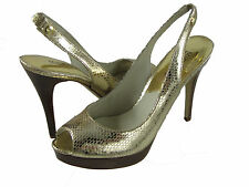 Michael Kors Womens York Sling Slip On Gold Silngback Peep Toe Heels