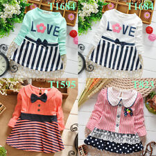 Newborn Baby Clothes Infant Girl Cotton Dresses Toddler Striped Dress 4 Colors