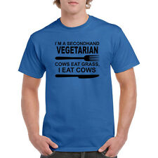 I'm a secondhand vegetarian Cows eat grass, I eat cows. Funny 2nd Mens T-Shirt