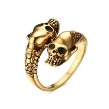 18K Gold Plated Double Skull Goth Stainless Steel Punk Band Men's Ring Size 7-11
