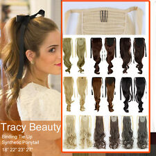 Tie Up Drawstring Clip in Ponytail Hair Extensions Extension Long as Human US T2