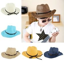 Kid Baby Boy Girl Summer Cowboy Straw Sun Hat Wide Brim Hat Beach Outdoor Cap