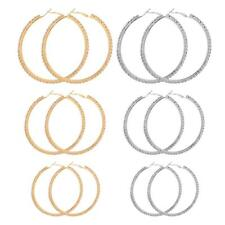 1 Pair Classic Gold/Silver Smooth Big Large Round Thin Hoop Dangle Drop Earrings