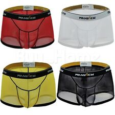 Men Boxer Briefs Sexy Thin Underwear Pouch Shorts Underpants Thong Trunks Bikini