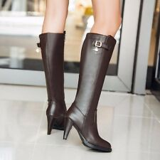 Womens Leather Buckle Zipper High Slim Heels Knee High Hiker Riding Boots Shoes